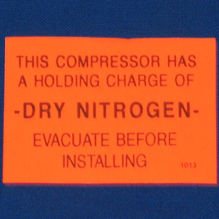 LBL-1013 Label; Dry Nitrogen Charge