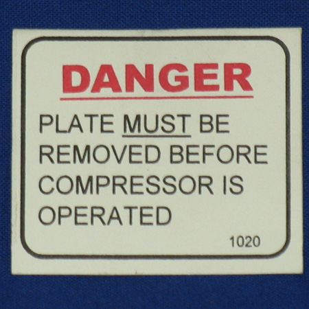 LBL-1020 Label; Danger Remove Shipping Plate Before Operating