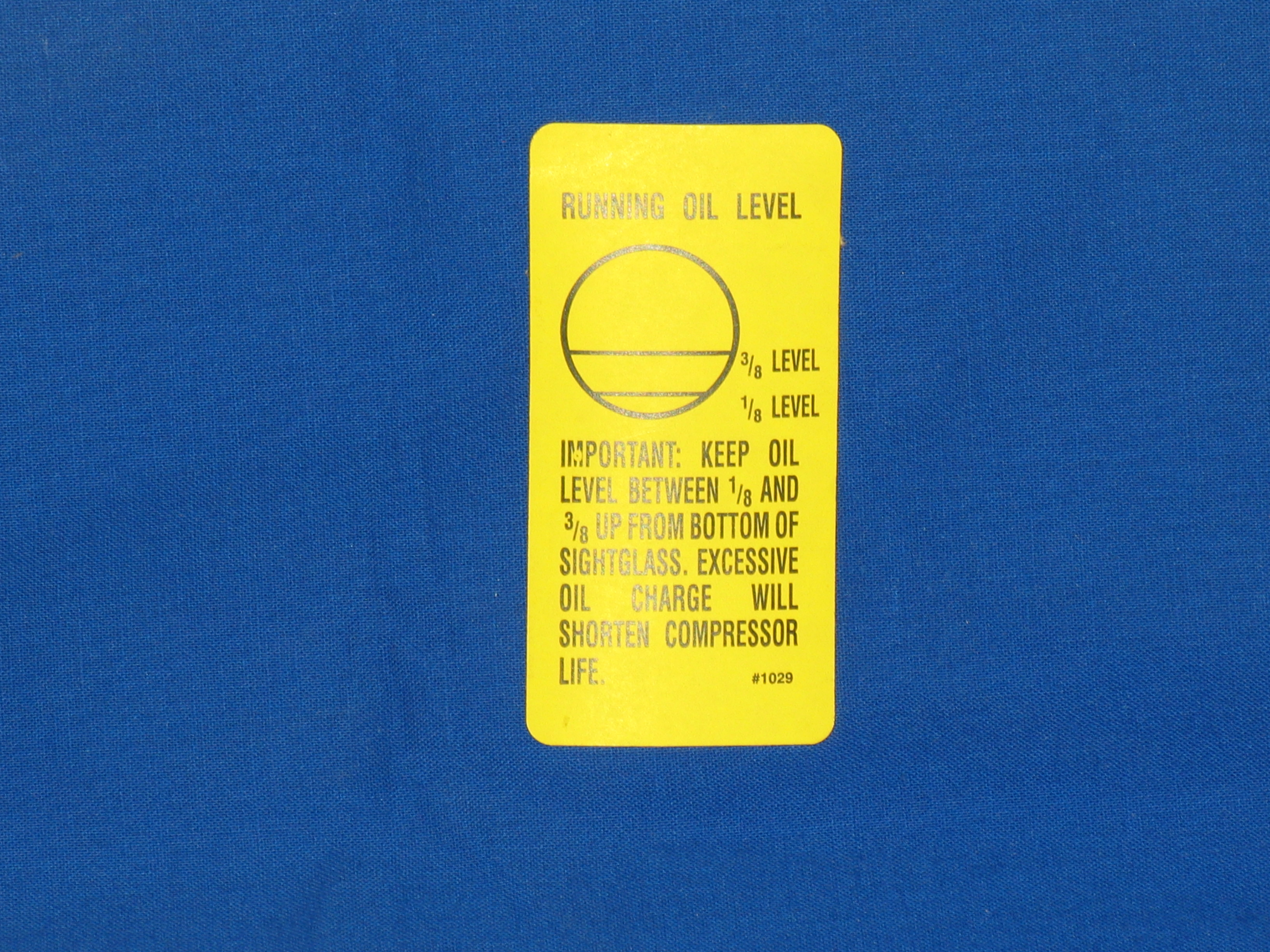 LBL-1029 Label Oil Level
