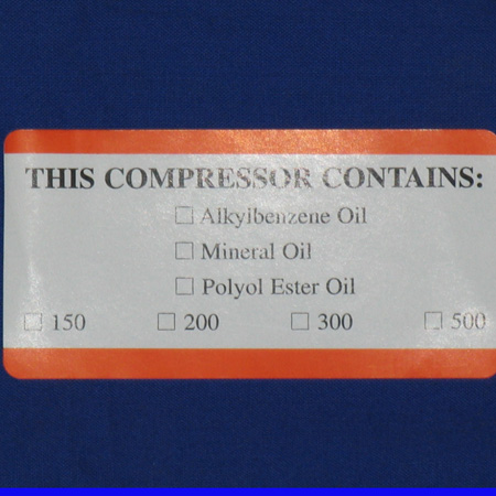 LBL-1040 LabeL; Oil Type Contained