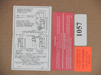 KIT-1057 Label Kit; 3A, 3R, EA, ER, and K Model