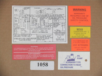 KIT-1058 Label Kit; M, N and 9R Model